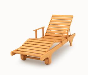 Деревянный шезлонг. Мебель для пляжа и загородного отдыха. 3d иллюстрации