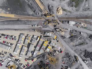 Construction site shot from above.Industrial area.
