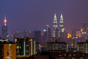 View of downtown Kuala Lumpur during majestic sunset