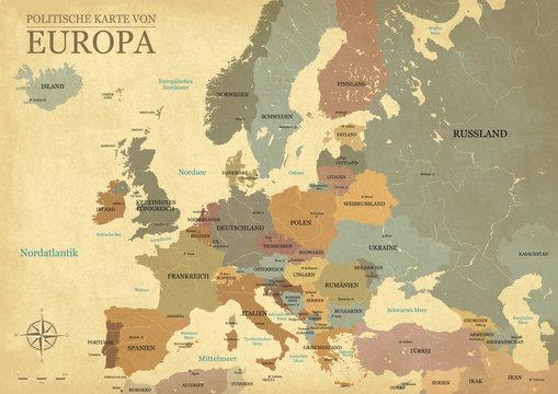 Europakarte mit hauptstädten - Vintage effekt - Deutsch version - Vektor