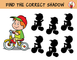 Boy riding a children's bicycle. Find the correct shadow. Educational game for children. Cartoon vector illustration