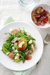 Vegetables and Fruits Salad with Avocado, Grape, Arugula