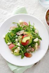Green Avocado Salad with arugula, grapes and blue cheese