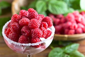 raspberry dessert with juicy berries