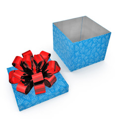 Empty Square blue giftbox on white. 3D illustration
