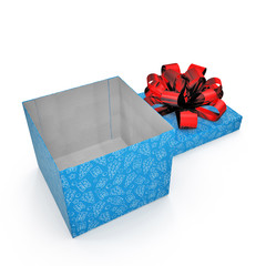 Blue gift-box with red ribbon bow on white. 3D illustration