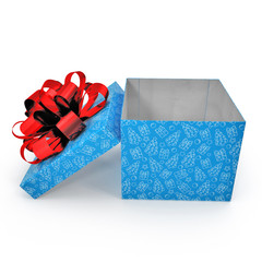 Empty blue gift box on white. Side view. 3D illustration