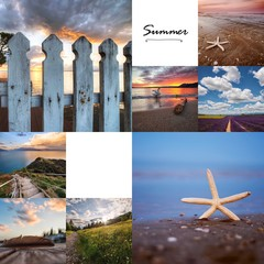 Collage of landscapes photo at sunset with the written summer