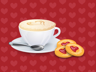 Cup with coffee, spoon and cookies on a pattern with hearts