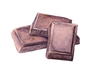 Simple chocolate blocks. Watercolor