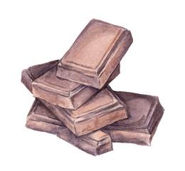 Chocolate blocks. Watercolor