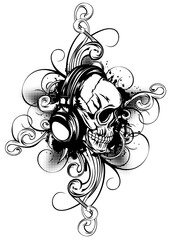 skull in headphones and patterns