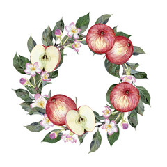Watercolor round frame of apples, apple branches, leaves and flowers isolated on white background. Illustration for design wedding invitations, greeting cards, postcards with space for your text