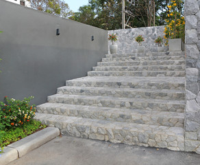 stone stairs in public park thailand.