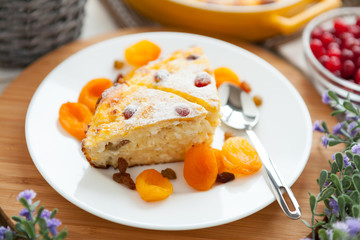 Cheese Pie closeup with dried apricot and raisins