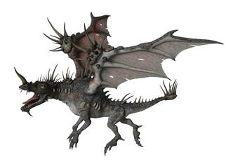 3D Rendering Spiky Dragon on White