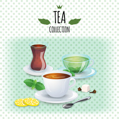 Tea collection illustration. Different styles cups and glass. Mint, black, green and oriental tea.