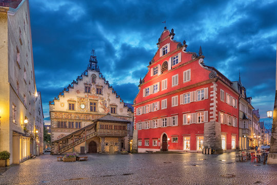Building of Old Town Hall (Altes Rathaus) in the evening, Lindau, Bavaria, Germany