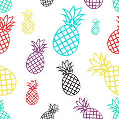 Seamless pattern with colorful pineapples. Tropical fruit on a white background