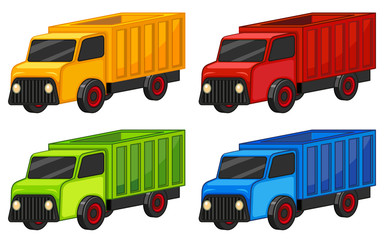 Trucks in four colors