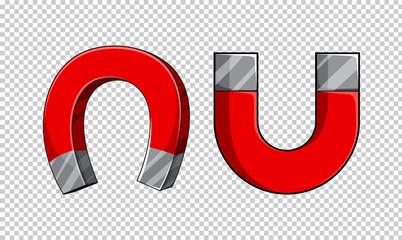 U shaped magnets on transparent background