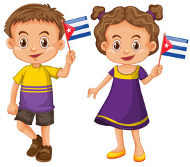 Boy and girl holding flag of Cuba