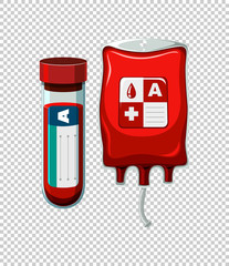 Blood in tube and bag