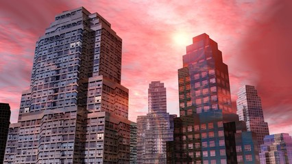 Beautiful skyscrapers against the sky, skyscrapers view from below, 3d rendering
