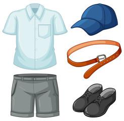 School uniform set on white background