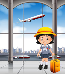 Japanese girl at the airport terminal