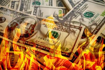 Crisis,dollars in fire, burning dollar