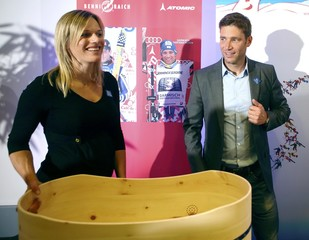 Austrian Alpine skiing World Cup champion Raich and his pregnant wife Marlies announce his retirement in Vienna