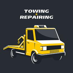 Yellow tow truck vector illustration