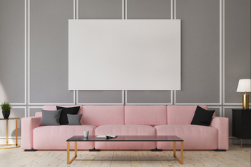 Pink sofa living room, poster