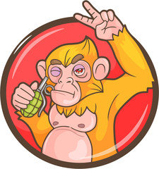 Mad monkey with a grenade, emblem