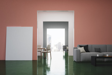 Pink and green living room, sofa