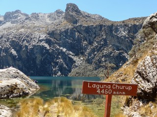 First sight of the stunning Laguna Churup on a day hike from Huaraz in Central Peru
