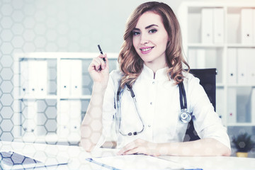 Woman doctor in her office, network