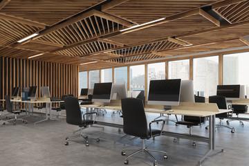 Open space office wood corner