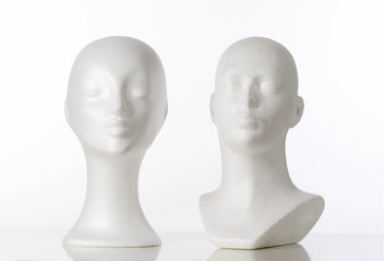 Two Mannequin Heads for Wigmaking