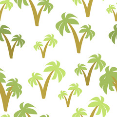 Palm Trees  Seamless Pattern Isolated in White Background.