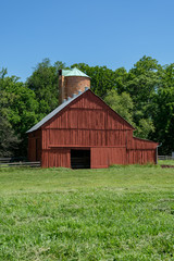 Pasture and barn with silo - portrait