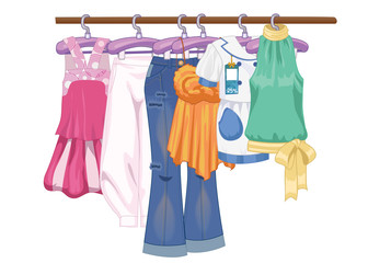 Clothes on hangers. Women s and teenager s clothes in flat style