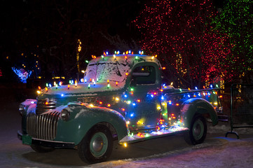 Christmas Lights on Old Chevy Truck