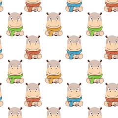 hippo pattern.Cute cartoon hippo in kawaii style.