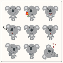 Set funny koala bear in different poses. Collection isolated koala in cartoon style for design children holiday and goods.