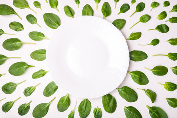 Frame made of spinach leaves and plate on white surface. Spinach leaf background. Creative food concept. Flat lay, top view