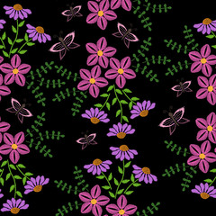 Seamless pattern with embroidery stitches imitation pink flower and leaf with butterfly