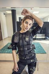 Beautiful woman wearing ems training equipment