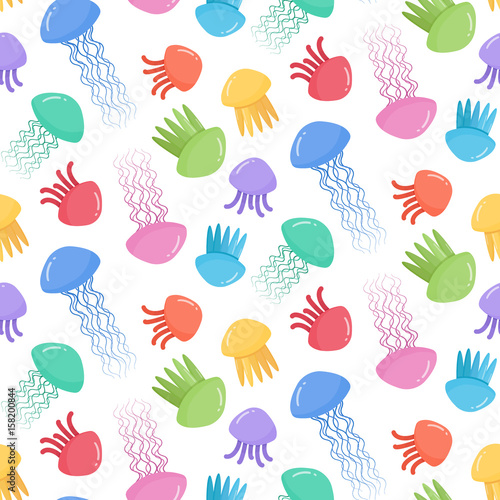 Seamless vector pattern with jellyfish